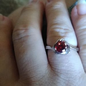 Garnet colored cz ring